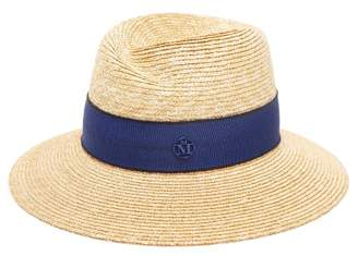 Maison Michel Virginie Straw Hat - Womens - Blue