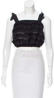 Behnaz Sarafpour Fringe-Trimmed Sleeveless Crop Top w/ Tags