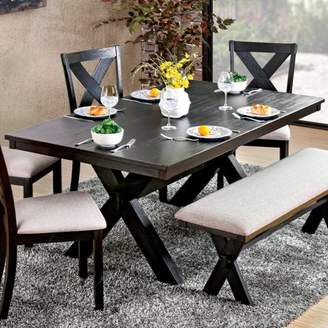 Generic Furniture of America Bladdel II Farmhouse Dining Table, Black