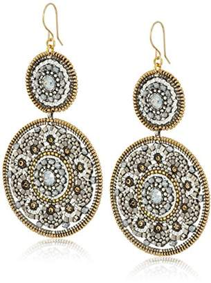 Miguel Ases Large Circle Swarovski Double Drop Dangle Earrings