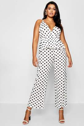 boohoo Plus Polka Dot Ruffle Wrap Jumpsuit