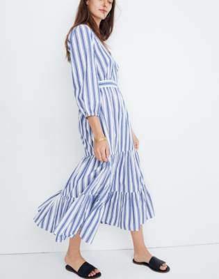 Madewell Ruffle-Sleeve Tiered Dress in Ava Stripe