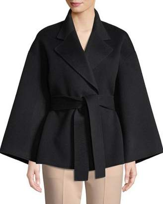 Theory Notched-Collar Belted New Divide Wool-Cashmere Robe Jacket