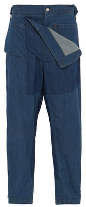 J.W.Anderson High Rise Folded Front Denim Jeans - Mens - Blue