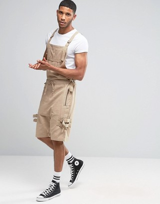 ASOS Drop Crotch Short Overalls With Taping In Stone $61 thestylecure.com