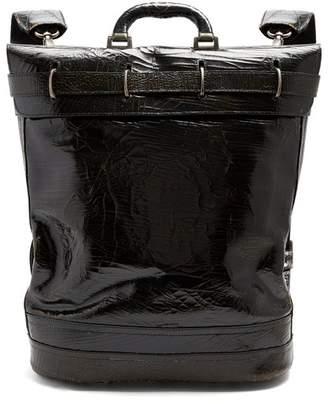 Marc Marmel - Money Bag Cracked Leather Document Holder - Mens - Black