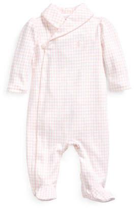 Ralph Lauren Childrenswear Long-Sleeve Shawl-Collar Footie Pajamas, Size 3-9 Months