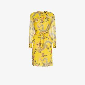 Isabel Marant Yellow Danzig Printed Silk Mid-length Dress