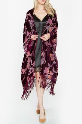 Sugar Lips Burgundy Velvet Kimono $84 thestylecure.com