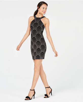 Speechless Juniors' Glitter-Embellished Bodycon Dress