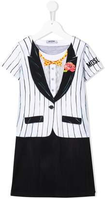 Moschino Kids tuxedo print shift dress