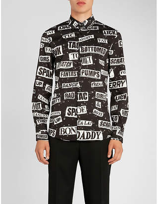 Moschino Cut out-print slim-fit stretch-cotton shirt