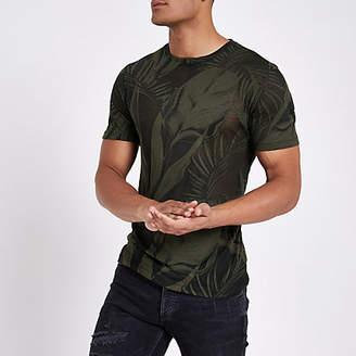 River Island Dark green palm print slim fit T-shirt