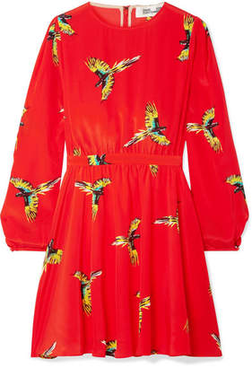 Diane von Furstenberg Printed Silk Crepe De Chine Mini Dress - Red