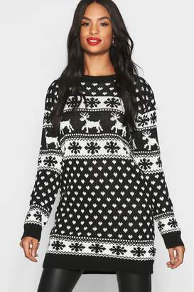 boohoo Tall Reindeers & Snowman Christmas Jumper Dress