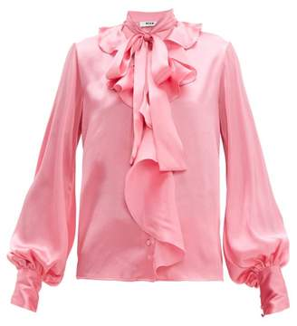 MSGM Ruffled Pussy Bow Satin Blouse - Womens - Pink