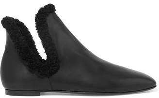 The Row Eros Shearling-trimmed Leather Ankle Boots - Black