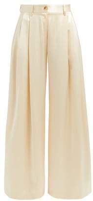 Nili Lotan Brixton Silk Wide Leg Trousers - Womens - Ivory