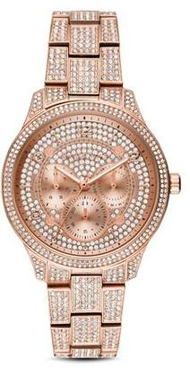 Michael Kors Runway Rose Gold-Tone All-Over Pavé Crystal Watch, 38mm