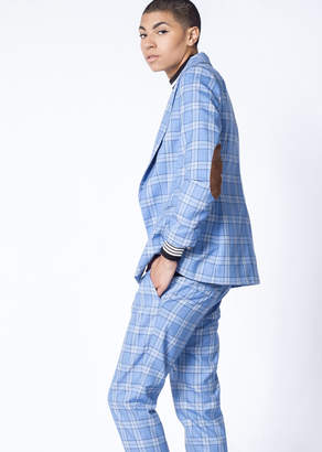WildFang The Empower Plaid Casual Blazer - The Empower Plaid Casual Blazer - BLUE PLAID - XSMALL