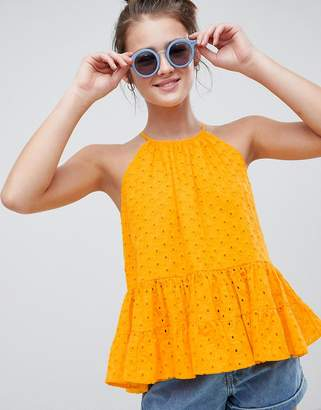 Asos DESIGN mixed broderie tiered cami