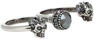 Alexander McQueen Crystal skull multi-finger ring