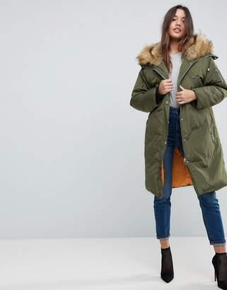 Asos Parka With Luxe Faux Fur Zip Through Hood