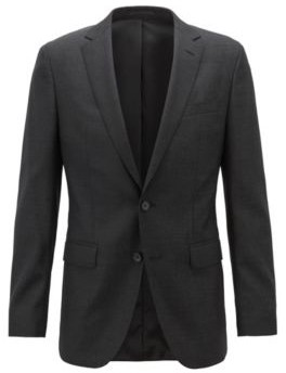 BOSS Slim-fit jacket in micro-patterned wool with natural stretch