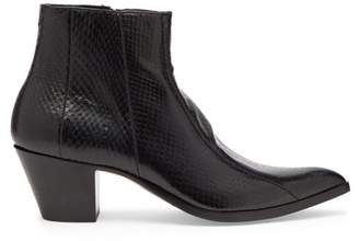 Saint Laurent Finn Ayers Ankle Boots - Womens - Black