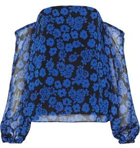 Milly Gloria Off-The-Shoulder Floral-Print Georgette Top