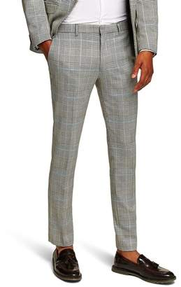 Topman Skinny Fit Houndstooth Suit Trousers