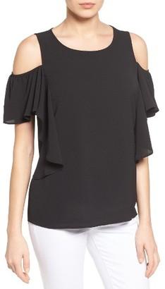 Women's Bobeau Cold Shoulder Ruffle Sleeve Top $49 thestylecure.com