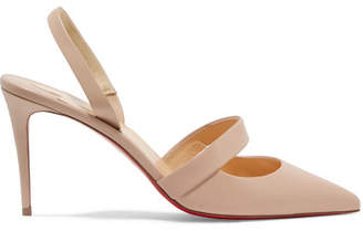 Christian Louboutin Actina 85 Leather Slingback Pumps - Neutral
