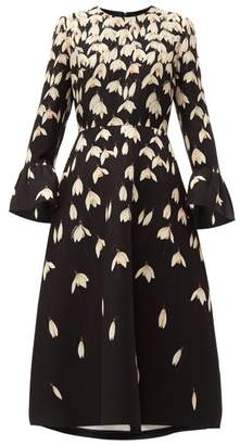 Valentino Snowdrop Print Wool Blend Crepe Midi Dress - Womens - Black Multi