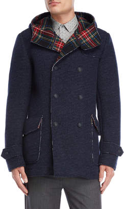Gaudi' Gaudi Jeans Plaid Trim Wool Hooded Parka