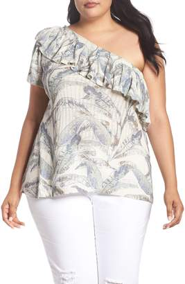 Lucky Brand Tropical One-Shoulder Top
