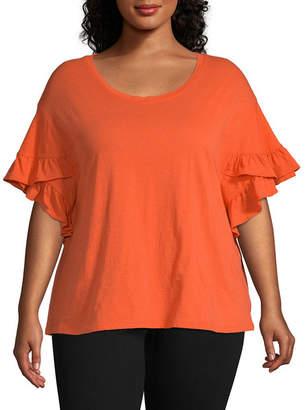 A.N.A Short Ruffle Sleeve T-Shirt - Plus