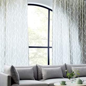 west elm Cotton Canvas Stained Glass Curtains (Set of 2) - Frost Gray/White