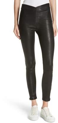 Frame Overlap Waist Leather Pants