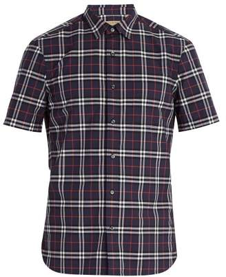 Burberry Point Collar Checked Cotton Shirt - Mens - Navy