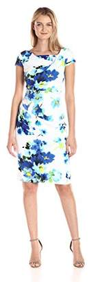 Adrianna Papell Women's Floral Stretch Crepe Drape Front