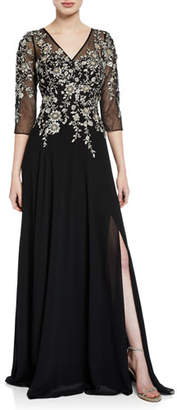Rickie Freeman For Teri Jon V-Neck 3/4-Sleeve Beaded Floral-Embroidered Gown w/ Thigh-Slit