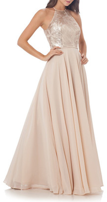Carmen Marc Valvo Infusion Sequin Embellished Chiffon Gown $425 thestylecure.com