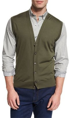 Ermenegildo Zegna High Performance Merino Wool Cardigan Vest, Green $595 thestylecure.com