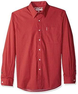 Cinch Men's Modern Fit Long Sleeve Button One Open Pocket Print Shirt