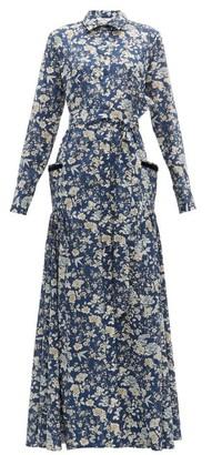 Evi Grintela Olivia High Neck Floral Print Cotton Dress - Womens - Blue Print