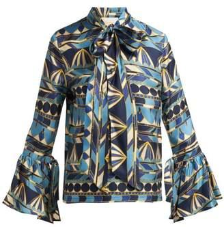 La Doublej - Happy Wrist Umbrella Print Silk Blouse - Womens - Blue Multi