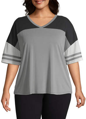 Flirtitude Short Sleeve V Neck T-Shirt-Womens Juniors Plus