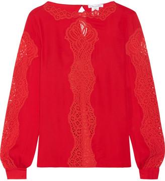 Oscar de la Renta - Lace-paneled Silk-chiffon Blouse - Red $2,190 thestylecure.com