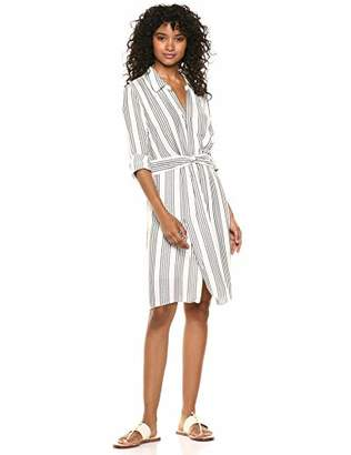 Halston Women's Long Sleeve Faux WRAP Striped Shirtdress